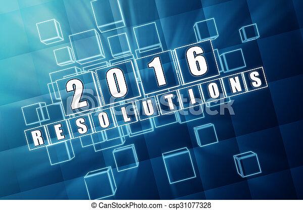 青, ブロック, ガラス, 年, 新しい, resolutions, 2016 - csp31077328
