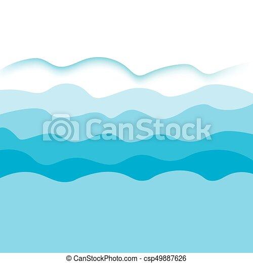 青, ベクトル, 海, waves-, 背景 - csp49887626