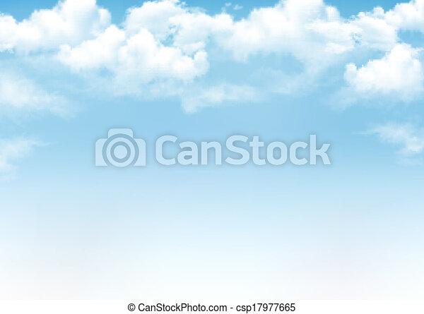 青, ベクトル, 空, 背景, clouds. - csp17977665