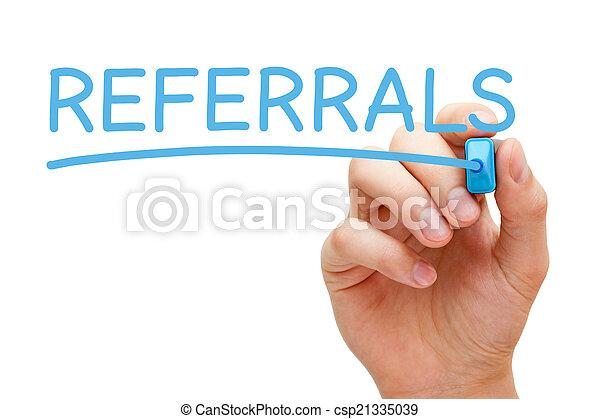 青, マーカー, referrals - csp21335039