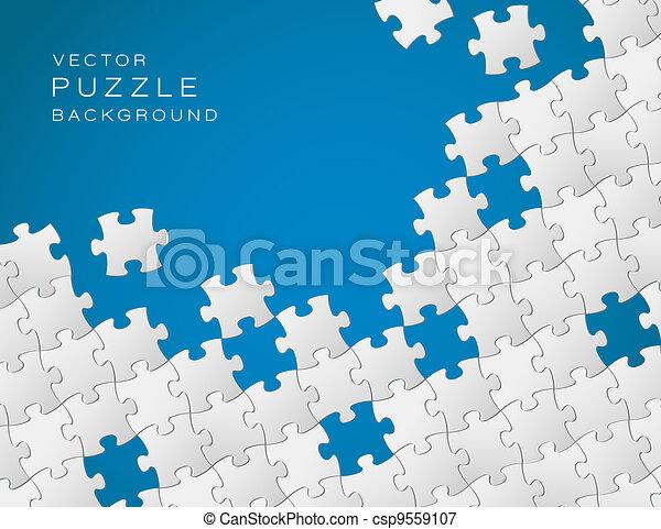 青, 作られた, パズル小片, ベクトル, 背景, 白 - csp9559107