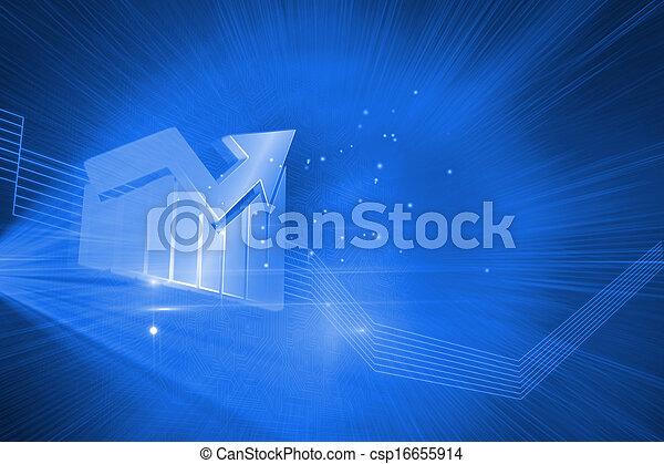 青, 光沢がある, 背景, 統計値 - csp16655914