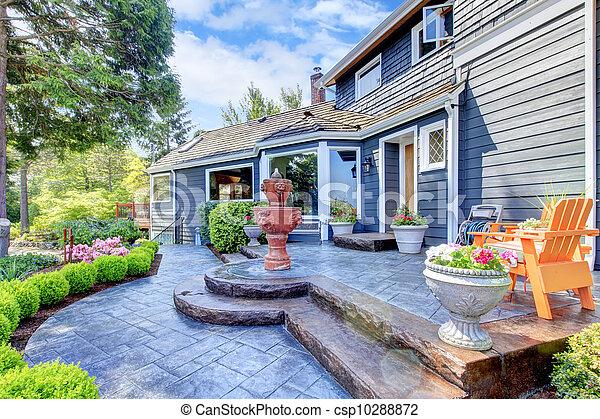 青, 入口, 家, 噴水, patio., すてきである - csp10288872