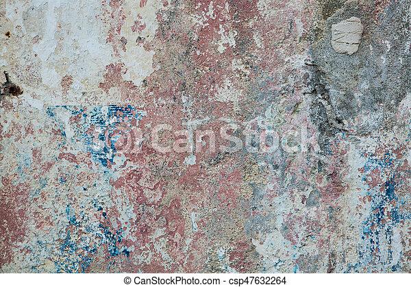 青, 古い, ペイントされた, 黄色, 壁, 錆ついた, colors., 背景, textured, 赤 - csp47632264