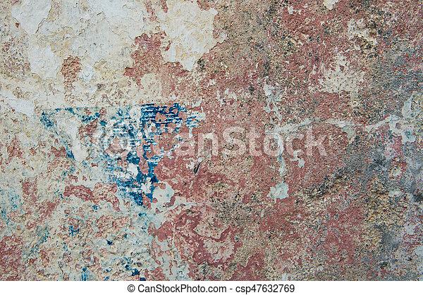 青, 古い, ペイントされた, 黄色, 壁, 錆ついた, colors., 背景, textured, 赤 - csp47632769