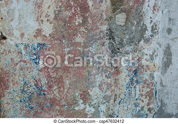 青, 古い, ペイントされた, 黄色, 壁, 錆ついた, colors., 背景, textured, 赤 - csp47632412