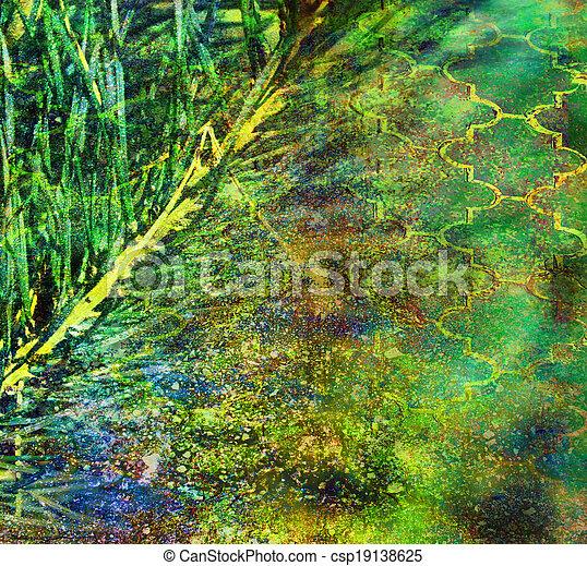 青, 古い, 型, 黄色の背景, 緑 - csp19138625
