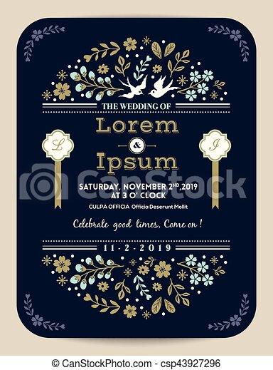 青, 型, 結婚式の招待, 花, カード - csp43927296