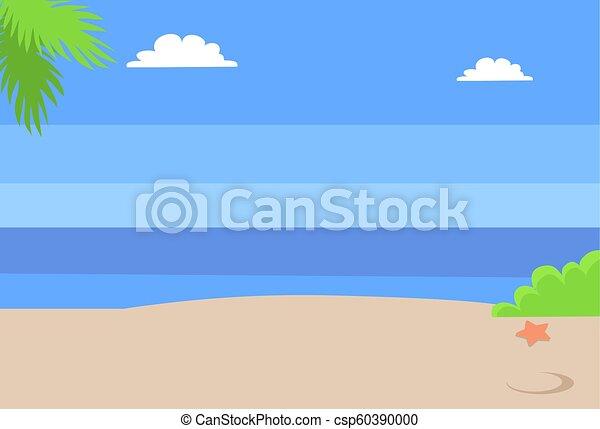 青, 夏, 空, 暑い, 砂の 海, 浜, 風景 - csp60390000