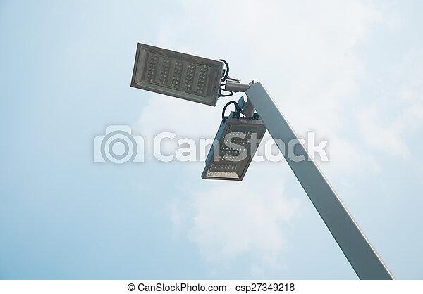 青, 大きい, ランプ, 通り, 空 - csp27349218