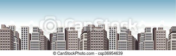 青, 大きい, 風景, 都市 - csp36954639
