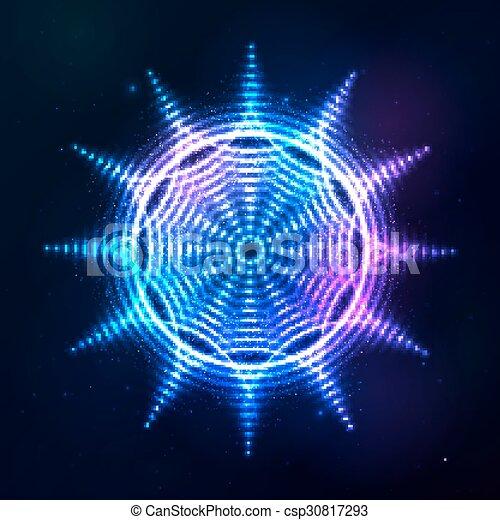青, 太陽, 宇宙, 暗い, 明るい, 背景, ネオン, 照ること - csp30817293