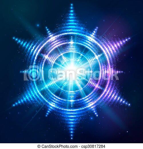 青, 太陽, 宇宙, 暗い, 明るい, 背景, ネオン, 照ること - csp30817284