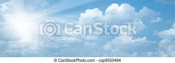 青, 太陽, 抽象的, 背景, 明るい空 - csp9550494