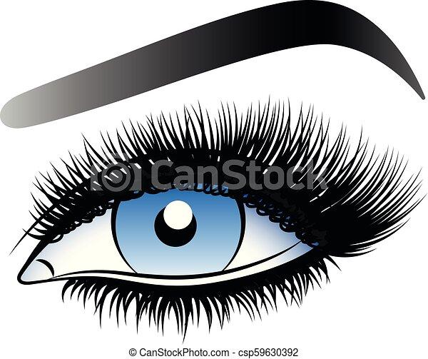 青, 女, 虚偽である, lashes., 長い間, 目 - csp59630392