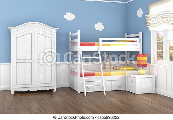 青, 子供の寝室 - csp5996222
