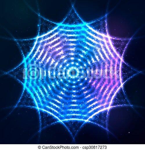 青, 宇宙, ネオン, 暗い, 明るい, 背景, 円, 照ること - csp30817273