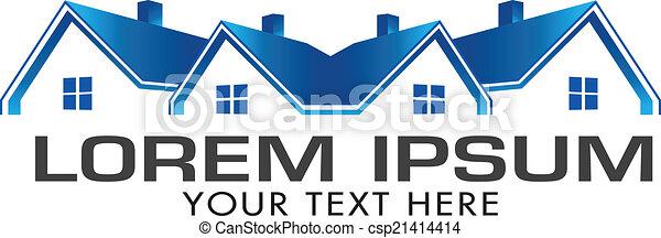 青, 実質, image., 財産, 家, ベクトル, アイコン - csp21414414
