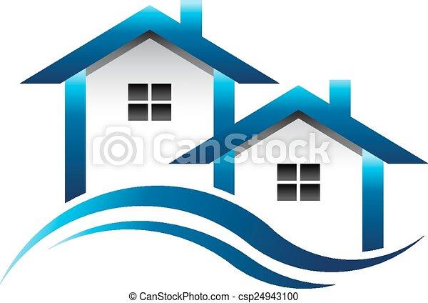 青, 家, 不動産, ロゴ - csp24943100