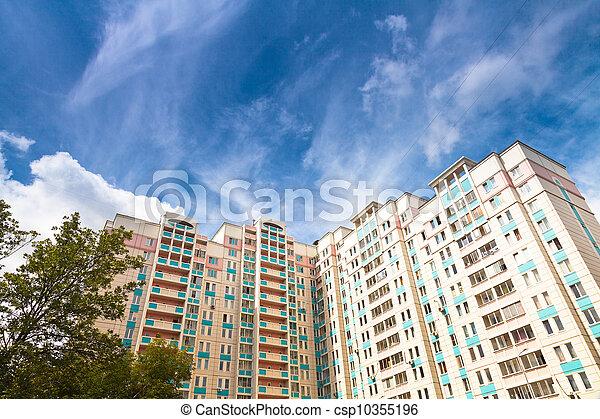 青, 市家, 空, 下に, 新しい - csp10355196