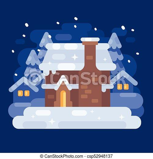 青 平ら 冬 雪が多い House イラスト 村 クリスマス 風景