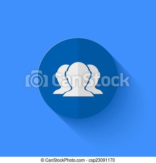 青, 平ら, 現代, ベクトル, 円, icon. - csp23091170