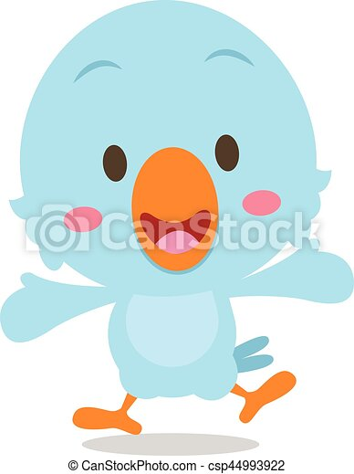 青, 幸せ, 漫画, イラスト, 鳥 - csp44993922