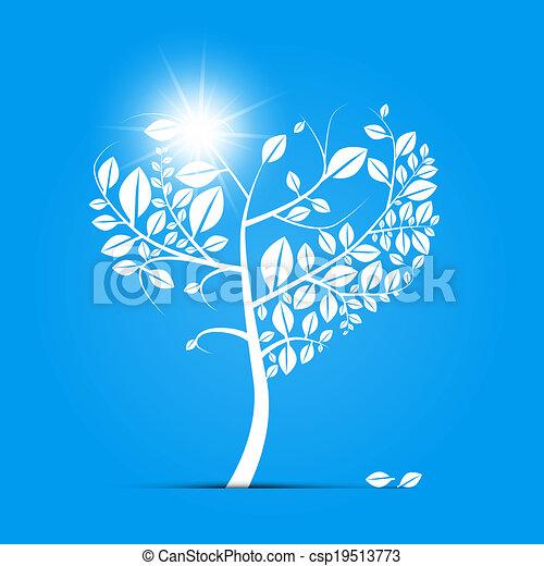 青, 形づくられた心, 抽象的, 木, ベクトル, 背景 - csp19513773