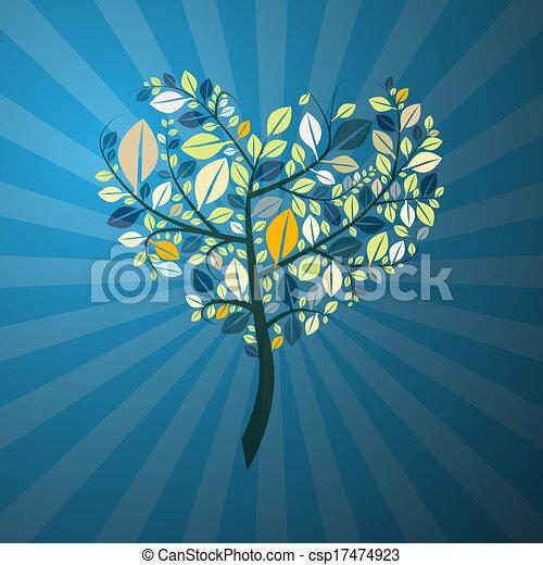青, 形づくられた心, 抽象的, 木, レトロ, 背景 - csp17474923