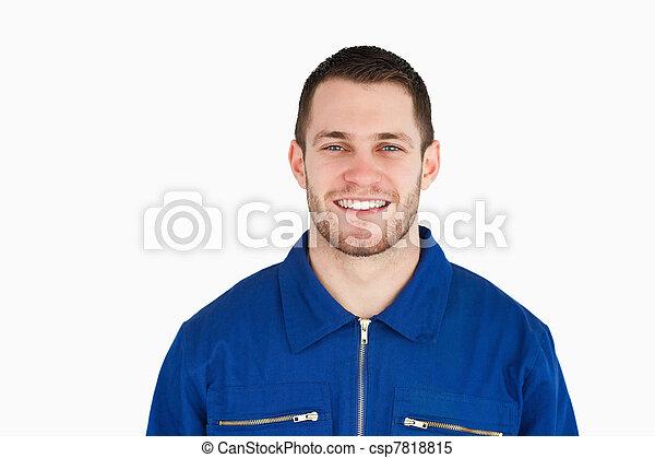 青, 微笑, つば, 労働者, 若い - csp7818815