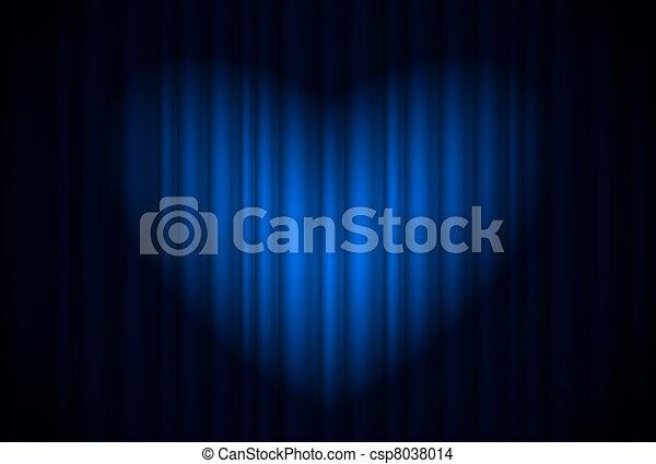 青, 心の形をしている, カーテン, 偉人, スポットライト, ステージ - csp8038014