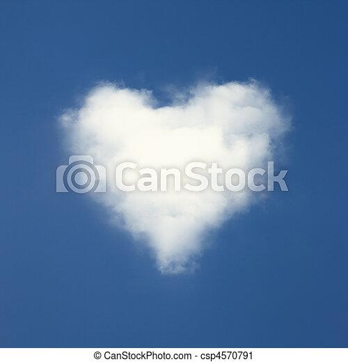青, 心, 雲, 形づくられた, 空, バックグラウンド。 - csp4570791