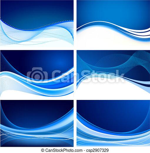 青, 抽象的, セット, 背景, ベクトル - csp2907329
