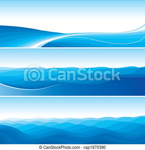 青, 抽象的, セット, 背景, 波 - csp1970390