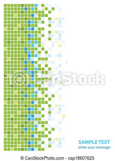 青, 抽象的, 正方形, 緑 - csp18607623