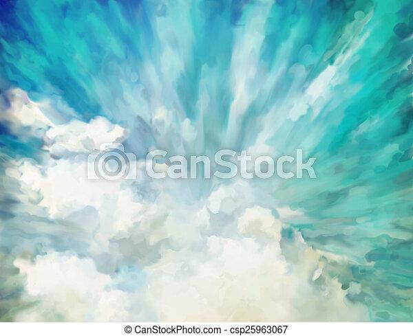 青, 抽象的, 芸術的, 背景 - csp25963067