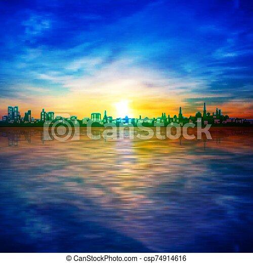 青, 日の出, シルエット, 都市, 春, 抽象的, 背景, 空 - csp74914616