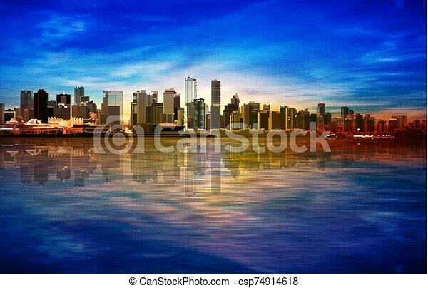 青, 日の出, バンクーバー, 春, 抽象的, 背景, パノラマ, 空 - csp74914618