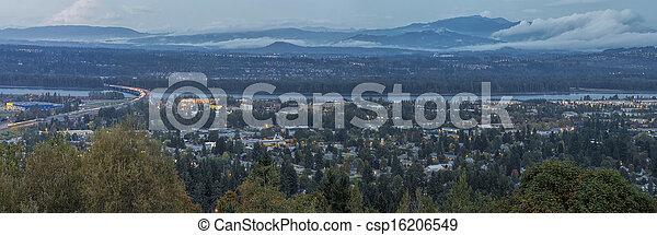 青, 時間, ワシントン, オレゴン, 州, パノラマの光景 - csp16206549