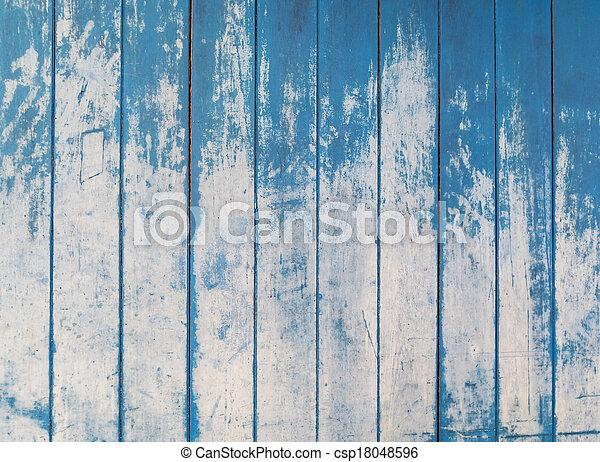 青, 板, フェンス, 木製の肉質, 背景, 荒い - csp18048596