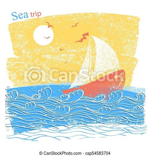 青, 海, テキスト, イラスト, ship., ベクトル, 背景, 風景 - csp54583704