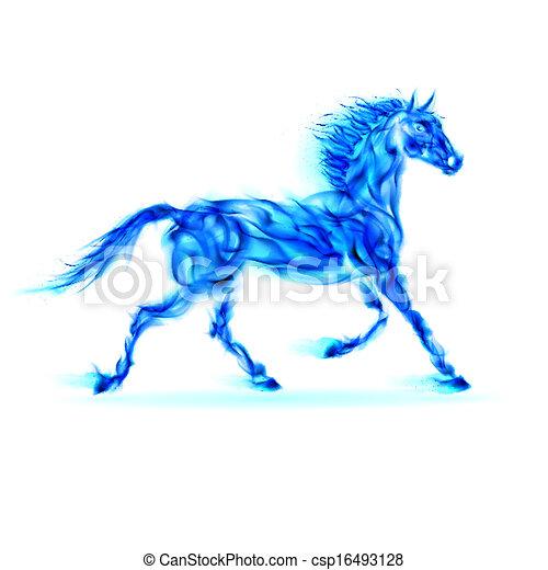 青, 火, horse. - csp16493128