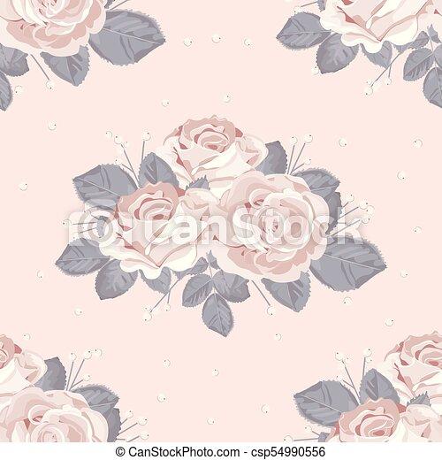 青, 灰色, パステル, 葉, pattern., seamless, イラスト, ばら, ピンク, ベクトル, バックグラウンド。, 花, 白, レトロ - csp54990556