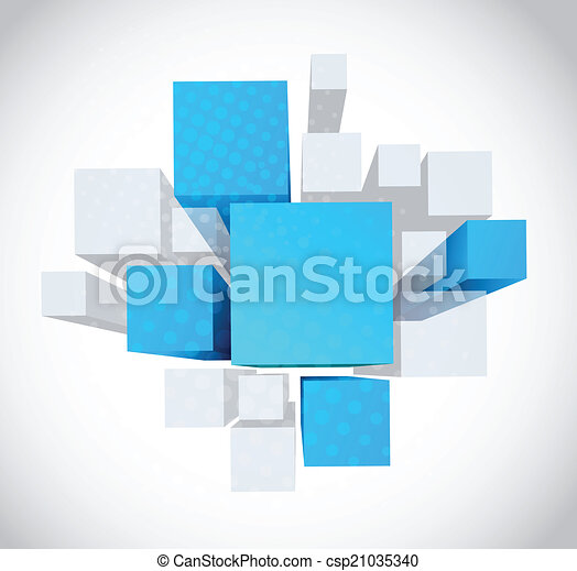 青, 灰色, 立方体, 抽象的, 背景, 3d - csp21035340