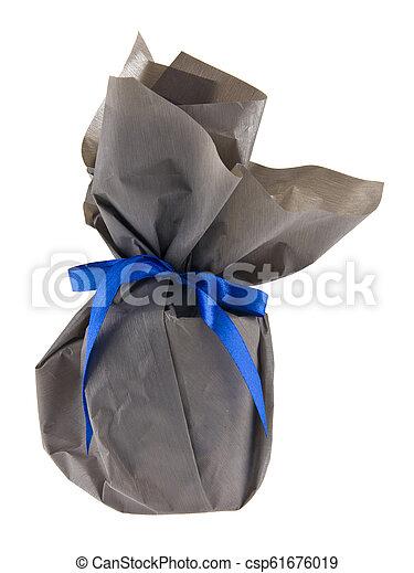 青, 灰色, 贈り物, 隔離された, ペーパー, 背景, 白いリボン - csp61676019