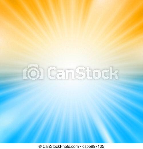 青, 爆発, ライト, 上に, 黄色の背景 - csp5997105