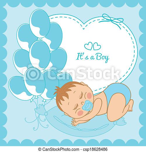 青, 男の子, フレーム, 赤ん坊, 睡眠 - csp18628486