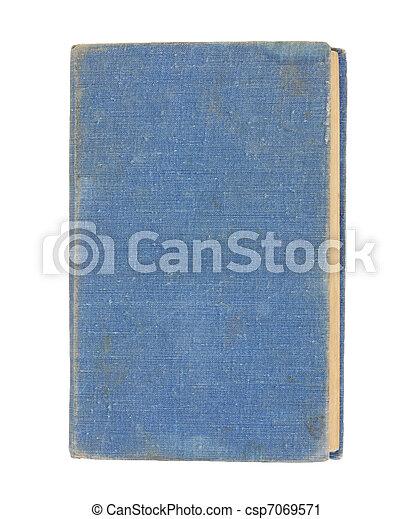 青, 白, 本, 古い, 背景 - csp7069571