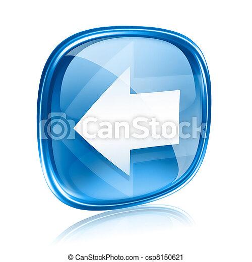 青, 矢, 隔離された, バックグラウンド。, ガラス, 白, アイコン, 左 - csp8150621