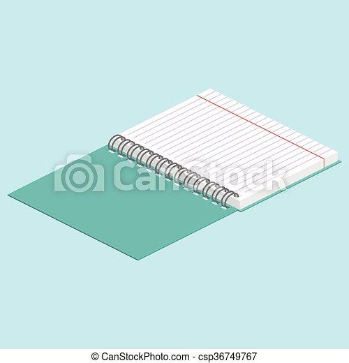 青, 等大, 背景, binding., イメージ, らせん状に動きなさい, イラスト, ベクトル, notebook., 開いた, illustration. - csp36749767